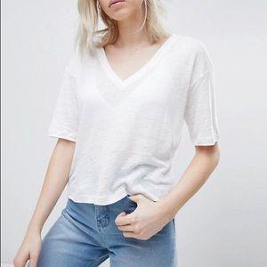 Asos White V-Neck Linen T-Shirt